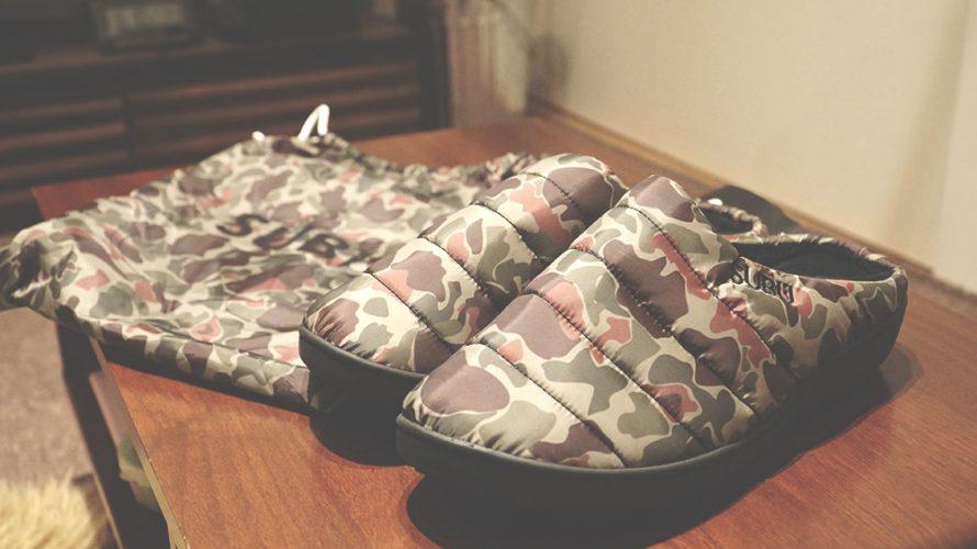 外遊び生活向上キャンプブログ 冬キャンプ で履ける冬サンダルSUBUのカラーduck camoの画像