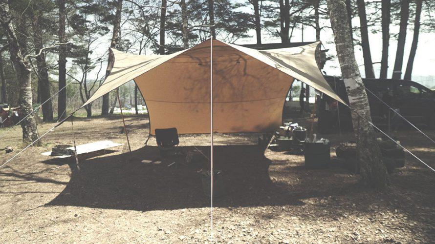 テンマクデザイン 焚火タープコネクトヘキサ張り方 横から見た画像