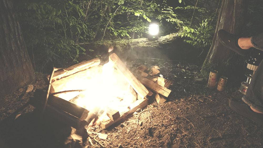 道志の森 直火エリアで焚火