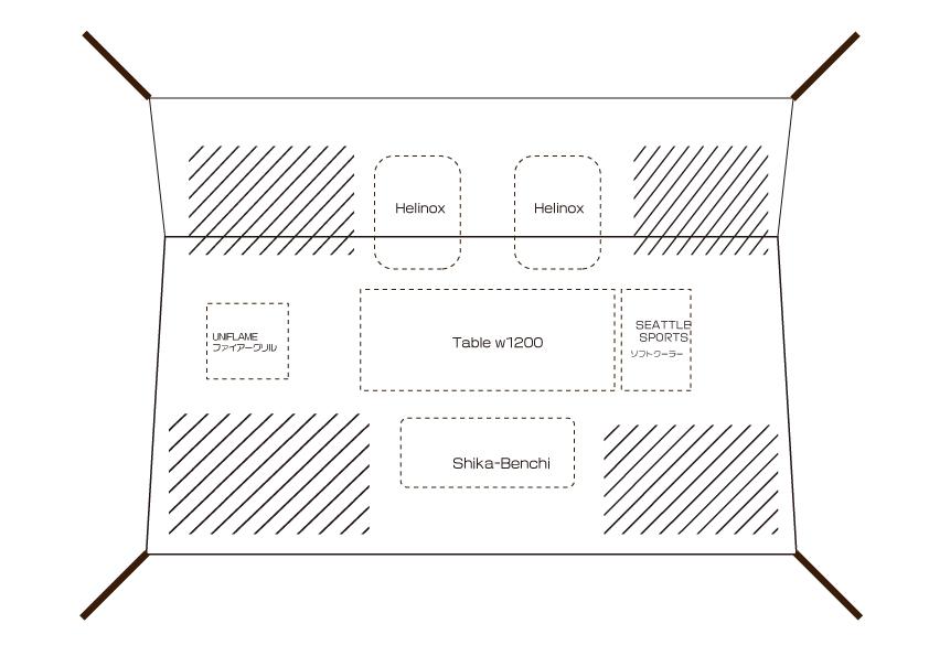 焚火タープ コネクトヘキサ 実際のレイアウト図